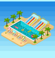 isometric aqua park composition vector image vector image