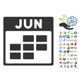 June Calendar Grid Flat Icon With Bonus vector image vector image
