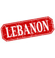 lebanon red square grunge retro style sign vector image vector image