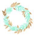 mint green and chocolate brown leaves wreath vector image vector image