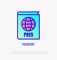 passport with globe thin line icon vector image