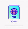 passport with globe thin line icon vector image