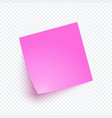 pink note paper with shadow sticker note for vector image
