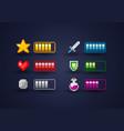 pixel art video game interface icon set vector image