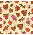 seamless pattern hearts and flowers vector image vector image