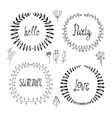 set hand drawn wreaths floral borders vector image