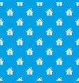 small snowy cottage pattern seamless blue vector image vector image