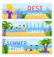 summer family time rest flat banner set vector image vector image