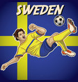 sweden soccer player with flag background vector image vector image