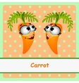Two carrots funny character on orange background vector image vector image