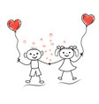 valentines day stick man boy and girl in love vector image vector image