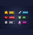 vector pixel art video game interface icon set vector image
