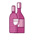 wine bottles and cup vector image vector image