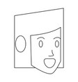 woman face head in black and white vector image