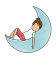 woman sleeping on the moon vector image