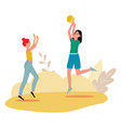 women or girls playing sports game with ball flat vector image vector image