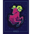 Zodiac sign Aries on night starry sky background vector image vector image