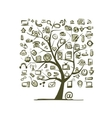 Art tree with IT devices for your design vector image