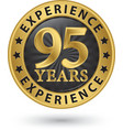 95 years experience gold label vector image