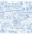 city with hand drawn buildings doodle urban vector image