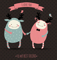 cute romantic cartoon card with lovely monsters vector image