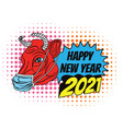 2021 happy new year in chinese culture red bull vector image vector image