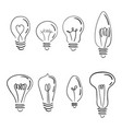 a set of light bulbs a collection of stylized vector image vector image