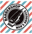 barbershop emblem with electrical hair clipper vector image vector image