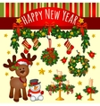 Big set of Christmas ornaments and two characters vector image vector image