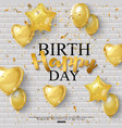 birthday background with golden balloons and vector image vector image