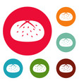 bun icons circle set vector image