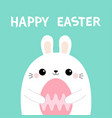 bunny rabbit holding pink painting egg happy vector image vector image