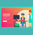 business concept boss look how her employee works vector image