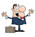 Businessman Holding His Arms Up By A Briefcase