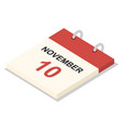 calendar 10 november icon set isometric style vector image