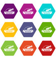 cannon ball icons set 9 vector image vector image