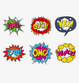 colorful comic speech bubbles with sounds vector image vector image
