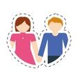 couple romantic love cute cut line vector image vector image