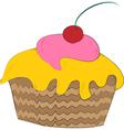 Cupcake with a Cherry on Top vector image vector image
