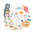 cute cartoon animals with easter theme happy vector image vector image