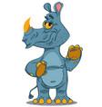 cute rhinoceros standing vector image vector image