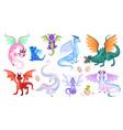 fairy dragons fantasy colorful creatures vector image vector image