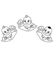 flying babies line art vector image vector image