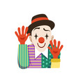funny circus clown in traditional makeup with vector image vector image