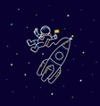 funny flying astronaut in space with rocket and vector image vector image