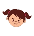 girl face cartoon tail hairstyle isolated vector image