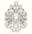 group of people pray to god prayer vector image