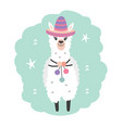 hand drawn cartoon llama character in sombrero vector image