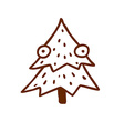 Hand Drawn Christmas Tree with Eyes vector image vector image