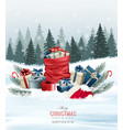 Holiday Christmas background with a sack full of vector image vector image